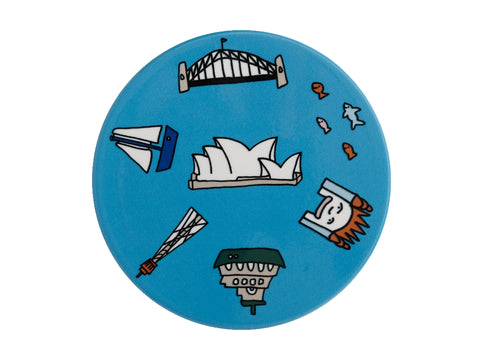 MW Megan McKean Cities Ceramic Round Coaster 10.5cm Sydney