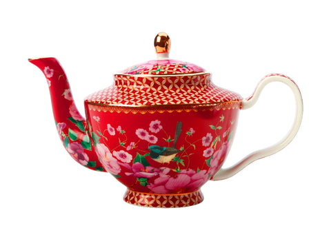 MW Teas & C's Silk Road Teapot with Infuser 500ML Cherry Red Gift Boxed