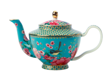 MW Teas & C's Silk Road Teapot with Infuser 500ML Aqua Gift Boxed