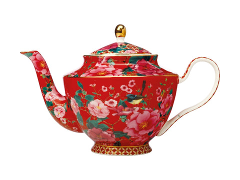 MW Teas & C's Silk Road Teapot with Infuser 1L Cherry Red Gift Boxed
