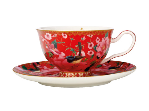 MW Teas & C's Silk Road Footed Cup & Saucer 200ML Cherry Red Gift Boxed