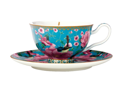 MW Teas & C's Silk Road Footed Cup & Saucer 200ML Aqua Gift Boxed