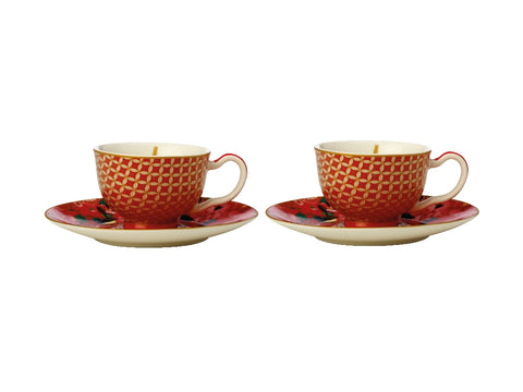 MW Teas & C's Silk Road Demi Cup & Saucer 85ML Set of 2 Cherry Red Gift Boxed