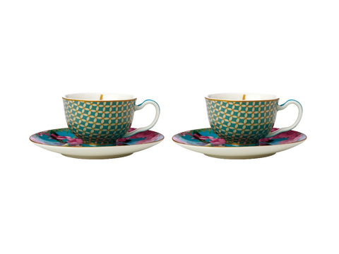 MW Teas & C's Silk Road Demi Cup & Saucer 85ML Set of 2 Aqua Gift Boxed