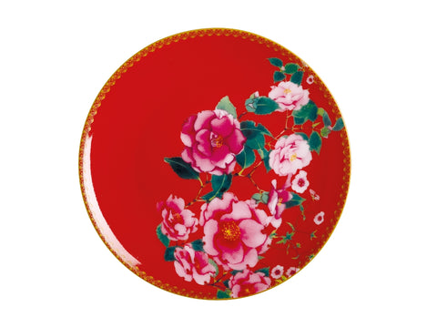 MW Teas & C's Silk Road Coupe Plate 19.5cm Cherry Red Gift Boxed