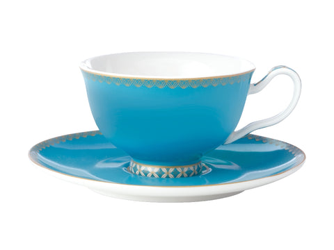 MW Teas & C's Classic Footed Cup & Saucer 200ML Aqua Gift Boxed