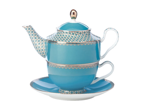 MW Teas & C's Classic Tea for One with Infuser 380ML Aqua Gift Boxed
