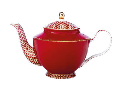 MW Teas & C's Classic Teapot with Infuser 1L Cherry Red Gift Boxed