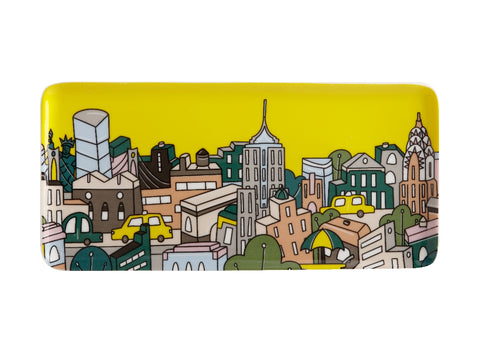MW Megan McKean Cities Rectangle Plate 25x12cm New York Gift Boxed
