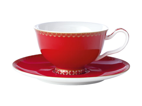 MW Teas & C's Classic Footed Cup & Saucer 200ML Cherry Red Gift Boxed