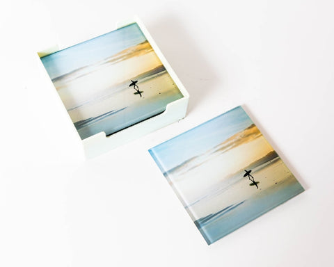 RAYELL GLASS COASTER LONE SURFER SUNSET