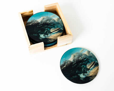 RAYELL ARTLAB GLASS COASTER SHATTERING SEA