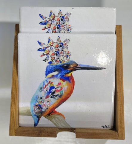 RAYELL ARTLAB CERAMIC COASTER KINGFISHER