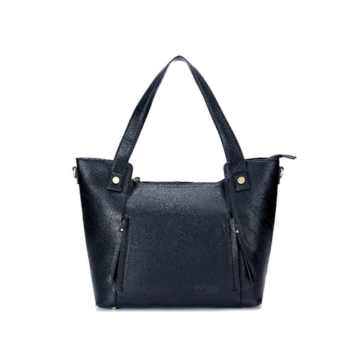 BLACK CAVIAR MARTHA HANDBAG 3 PCE BLACK