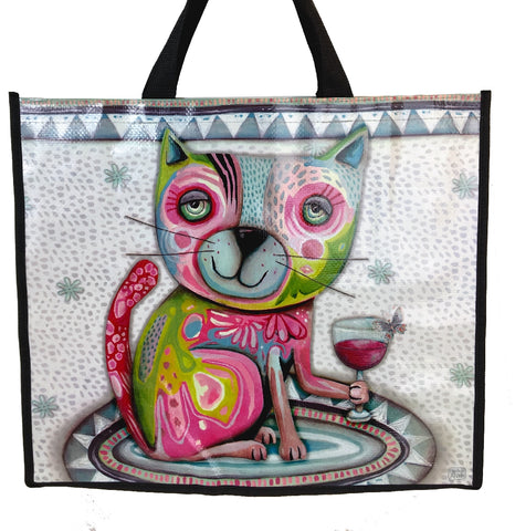 ALLEN DESIGNS CAT WINE SHOPPING BAG