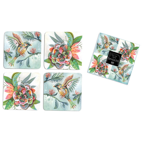 ALLEN DESIGNS BIRD FLOWER COASTERS SET