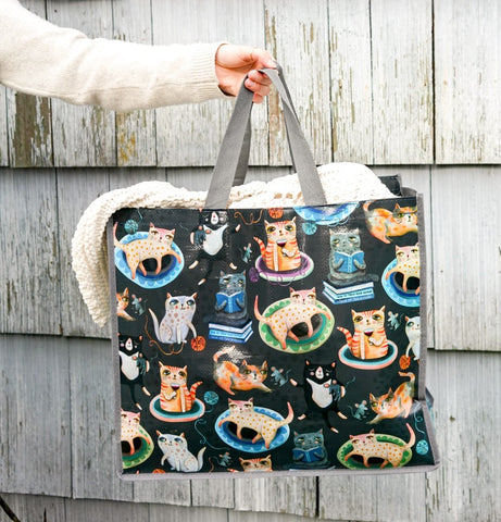 ALLEN DESIGNS CRAZY CATS SHOPPING BAG