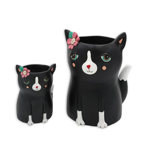 ALLEN DESIGNS BABY CAT PLANTER BLACK