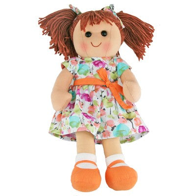 HOPSCOTCH OLIVIA DOLL AQUA AND TANGERINE PATTERNED