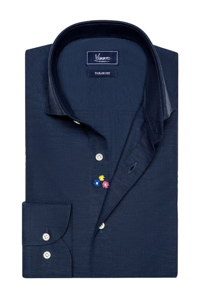 Midnight Blue Embroidered Shirt