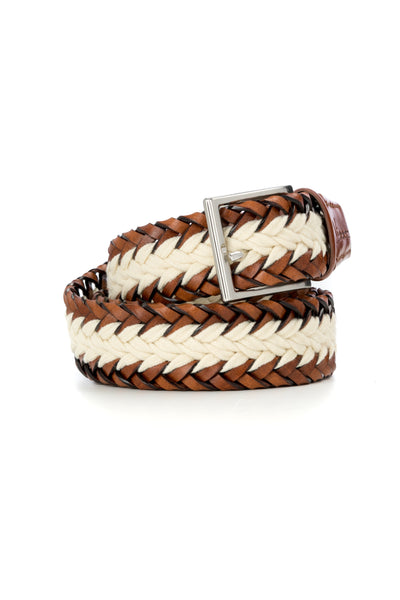 Brown With Cream Braided Leather Casual Belt
