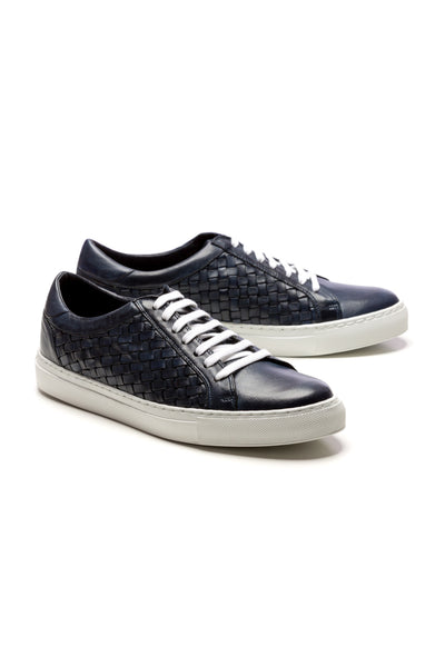 Sneakers Braided Leather Navy