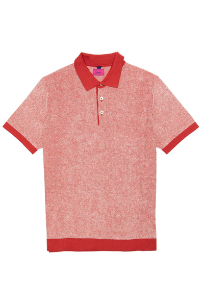 Textured red polo shirt