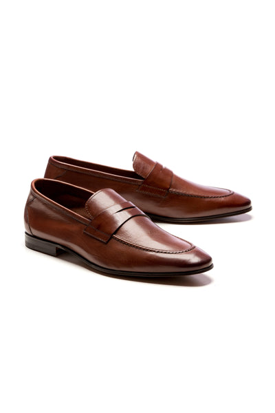 Brown Natural Leather Loafers