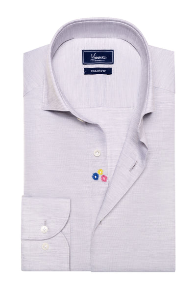 Gray Shirt With Multicolored Embroidery