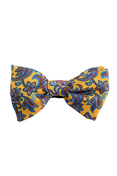 Yellow Bow Tie With Paisley Pattern