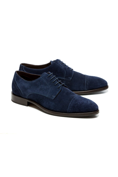 Navy Derby Suede Shoes