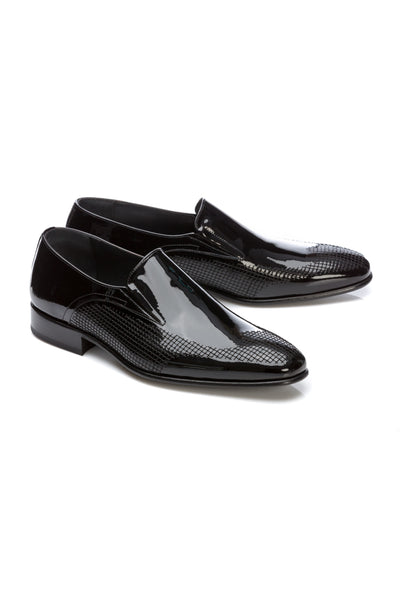 Textured Patent Leather Tuxedo Shoes