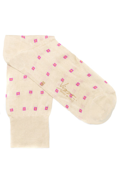 Beige Socks With Pink Squares