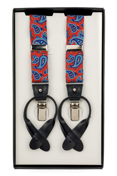 Red Suspenders With Paisley Pattern