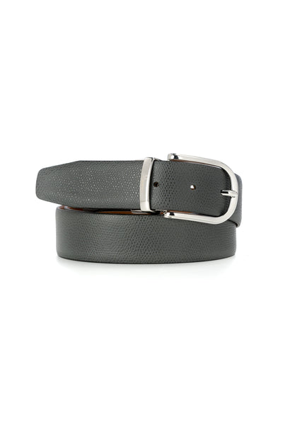 Cognac/Gray Leather Business Belt