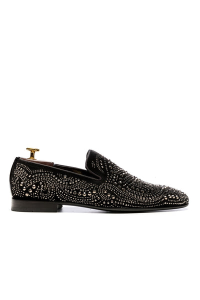 Black Tuxedo Shoes With Decorative Elements
