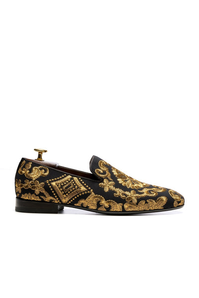 Black Shoes With Gold Embroidery