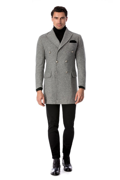 Gray Casual Coat With 2 Rows Of Buttons With Spit Lapel