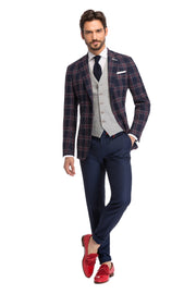 Sacou bleumarin in carouri slim fit