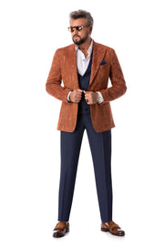 Sacou maro herringbone, tailored fit