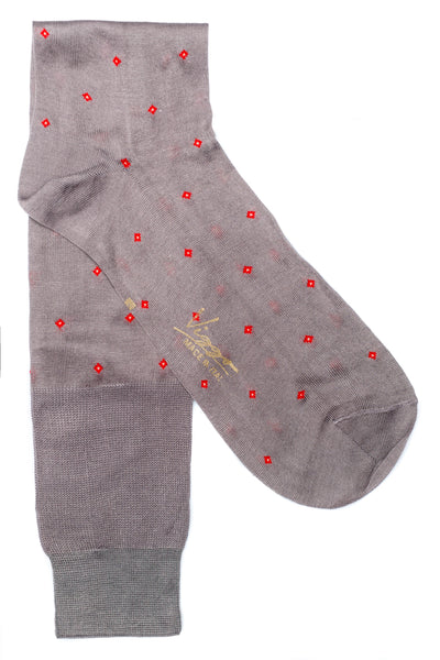Gray Socks With Red Pattern