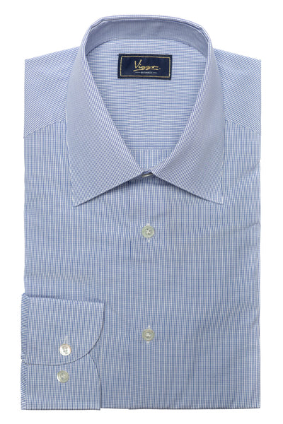 White Shirt With Blue Squares