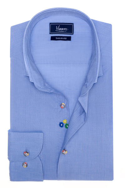 Portage Blue Embroidered Shirt