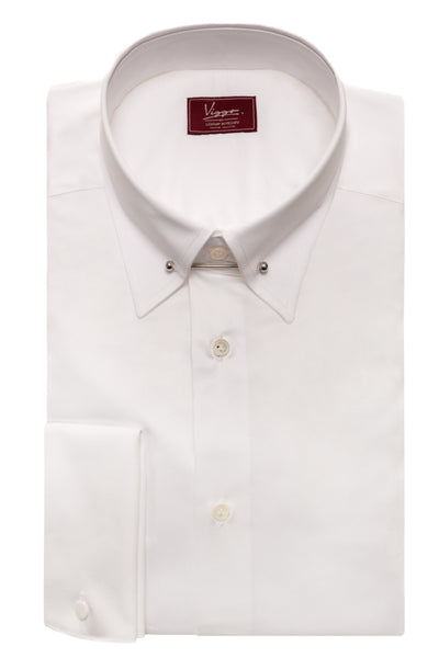 White Shirt With Needle Pin Collar