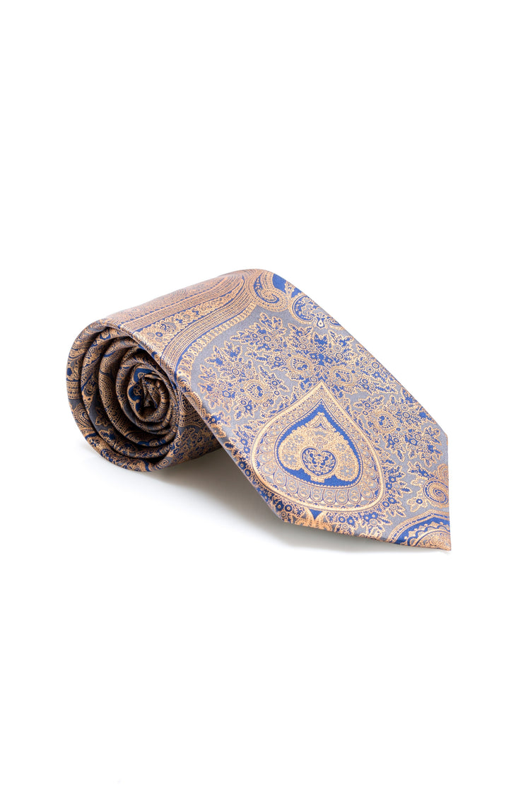Antique Blue Paisley Tie - Traditional Hand Print