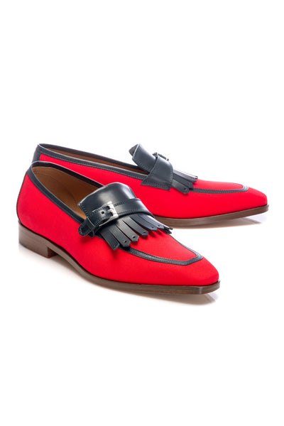 Red Leather And Textile Tassel Loafers