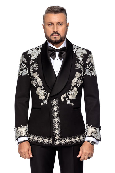 Double Breasted Wool Tuxedo Jacket With Hand Made Embroidery