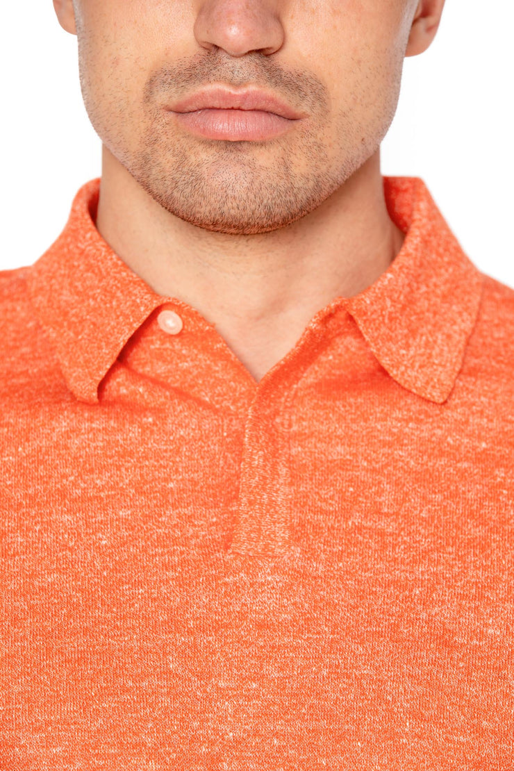 Tricou polo orange din lana merino si in