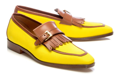 Yellow Leather And Textile Tassel Loafers