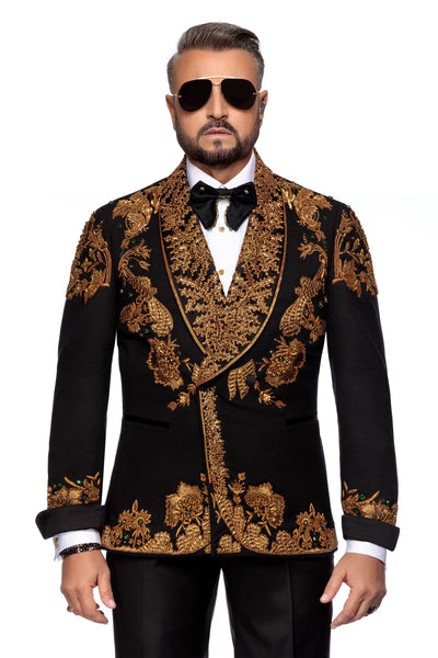 Double Breasted Wool Tuxedo Jacket With Hand Made Bronze Embroidery
